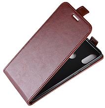 Кожаный чехол флип для Xiaomi Redmi Note 7 коричневый