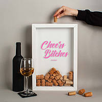 """Рамка для винных пробок """"Cheers Bitches"""" White"""