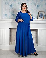 Женское платье большого размера длинное однотонное с камушками на рукавах