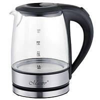 Стеклянный электрический чайник Maestro на 1.2 л Серебристый с черным (43-MR-062)