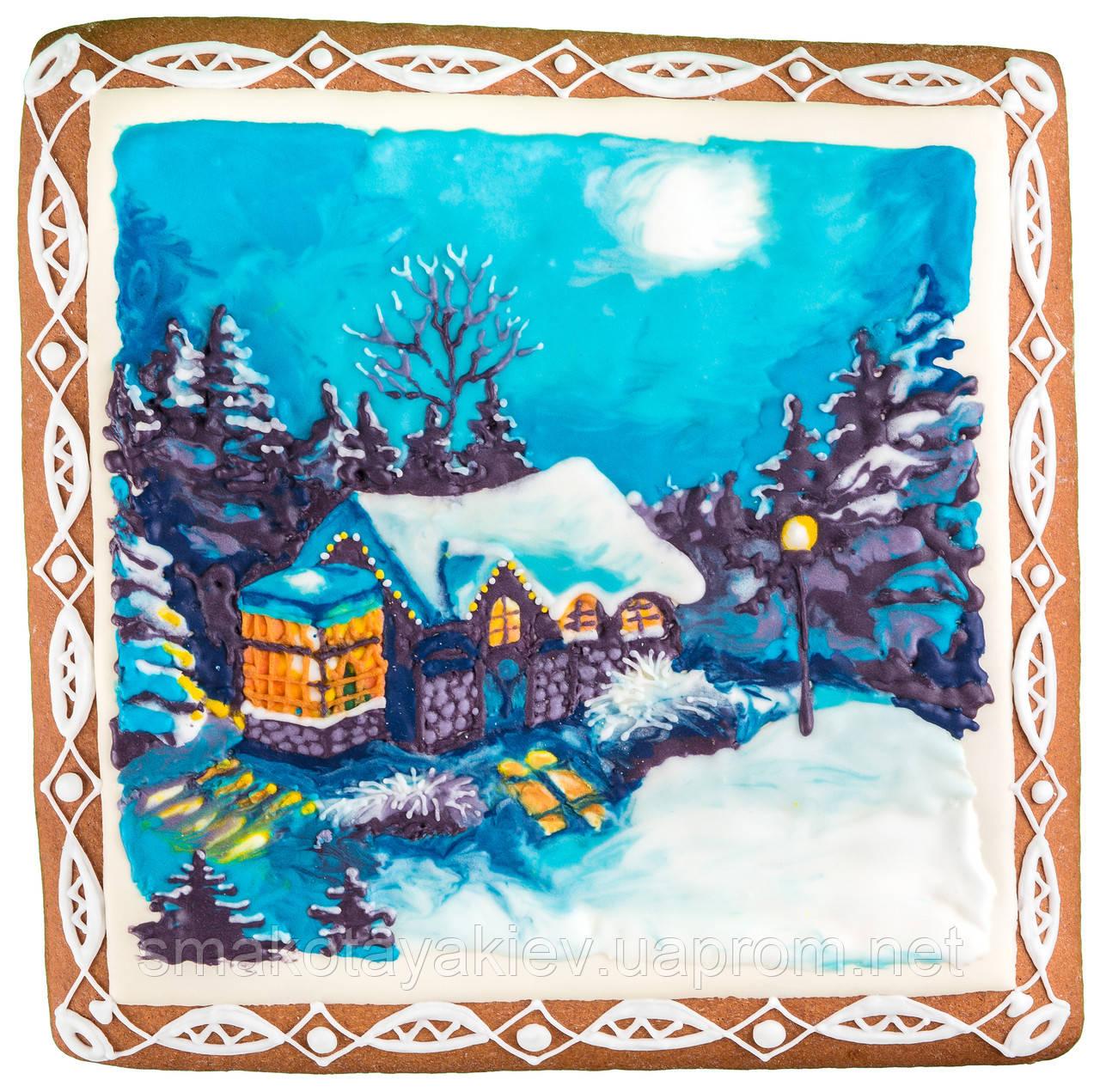 """Пряничная картина """"Ночь в зимнем лесу"""""""