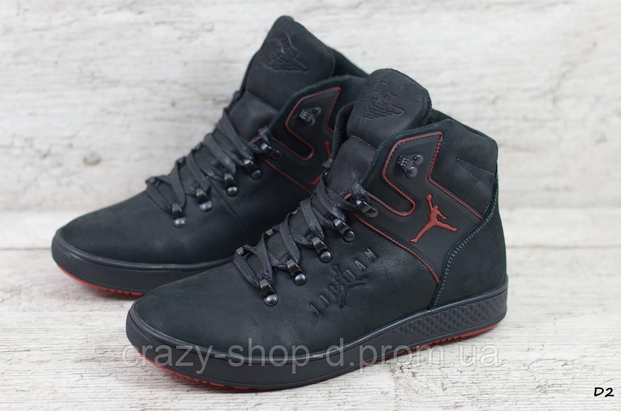 Мужские кожаные зимние ботинки Jordan (Реплика) (Код: D2  ) ►Размеры [40,41,42,43,44,45]