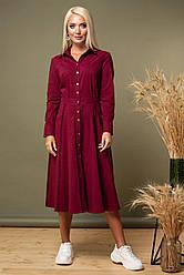 Бордовое платье с кружевом по рукавам и юбке