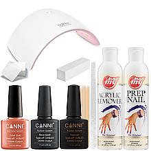 Стартовый набор гель лаков Canni (с UV LED лампой Sun9)