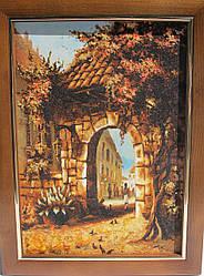 """Картина из янтарной крошки """"Южная деревенька"""" (пейзаж) 30х40 см"""
