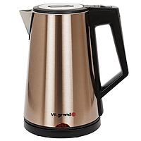 Электрический чайник-нержавейка ViLgrand VS301CLТ с цельной колбой  и функцией термопот 1.8 л 2 кВт Бронзовый (34-45673)