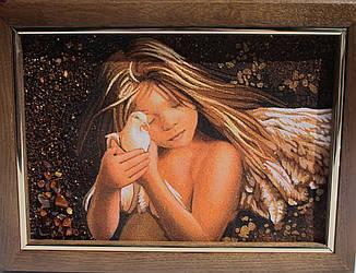 """Картина из янтарной крошки """"Девочка ангел с голубем"""" 20х30 см"""
