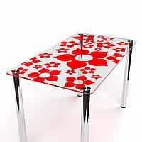 """Стол обеденный стеклянный """"Цветение с-1"""" стол для гостинной или кухни"""