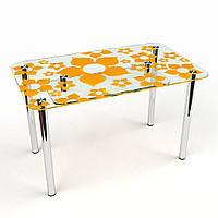 """Стол обеденный стеклянный """"Цветение с-2"""" стол для гостинной или кухни"""