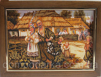 """Картина из янтарной крошки """"Дівчина і козак"""" 20х30 см"""