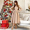 Изысканное нарядное платье, размеры: 42-44, 44-46, цвета - хаки, светло-бежевый, фото 2