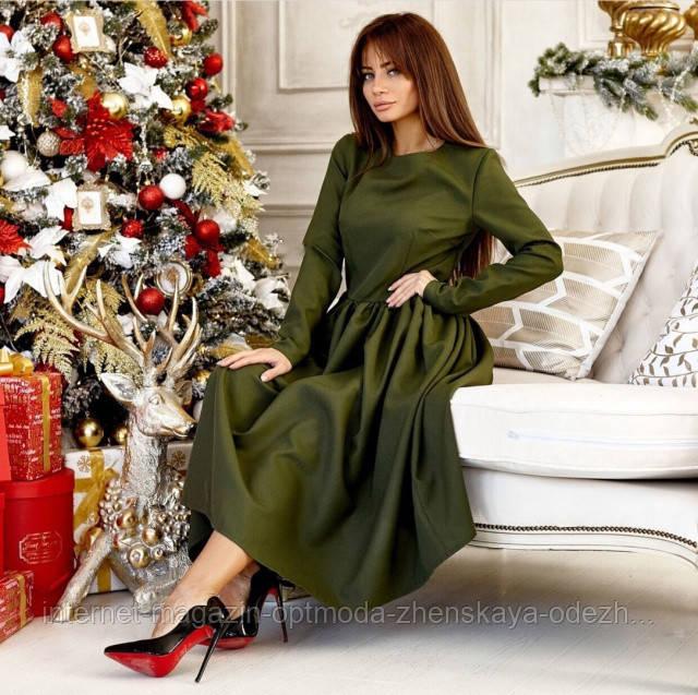 Изысканное нарядное платье, размеры: 42-44, 44-46, цвета - хаки, светло-бежевый