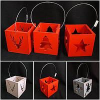Красный ящик-подсвечник с ручкой, материал - дерево, р-ры 11х11х11 см, 100/85 (цена за 1 шт. + 15 гр.)