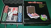Покерный набор в алюм. кейсе-100 IG-2470 (100 фишек с номинал,2 кол.карт,5куб,р-р кейса 20*21*6,5см)