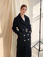 Женское длинное двубортное шерстяное пальто-тренч чёрное р. SM и LXL