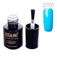Гель-лак для ногтей маникюра 7мл Rosalind, шеллак, 2701 голубой