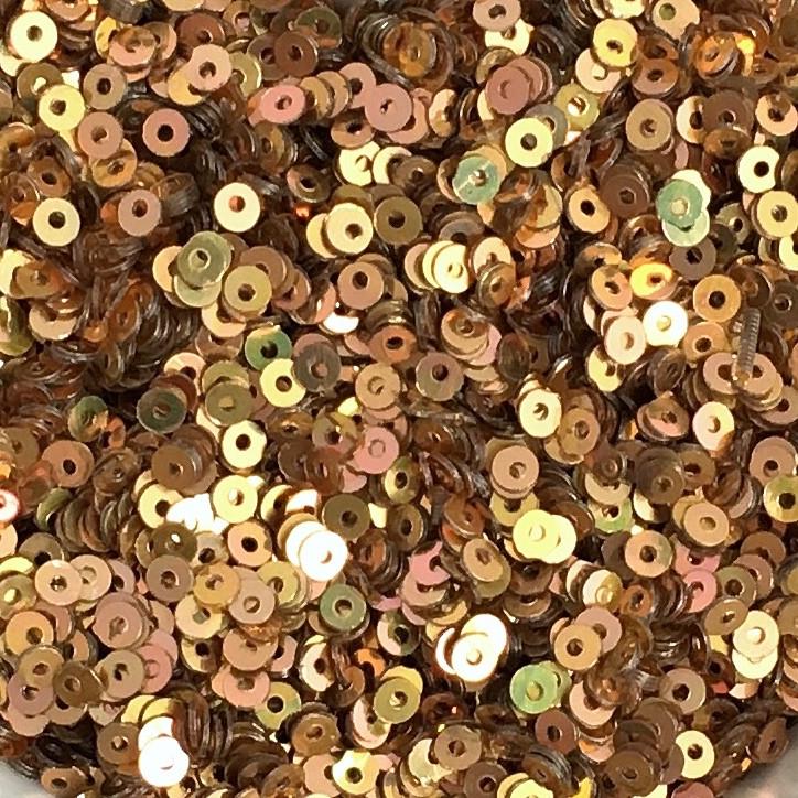 Пайетки 2.5 мм (Индия). Круглая плоская. Красное золото (металлик). Упаковка 5 гр.