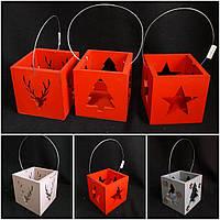 Красный деревянный ящик-подсвечник с ручкой, разные цвета, р-ры 11х11х11 см, 100/85 (цена за 1 шт. + 15 гр.)