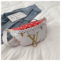 Бананка Louis Vuitton ЛУИ ВИТТОН поясная сумка женская реплика сумочка жіноча  2055/22 Белая