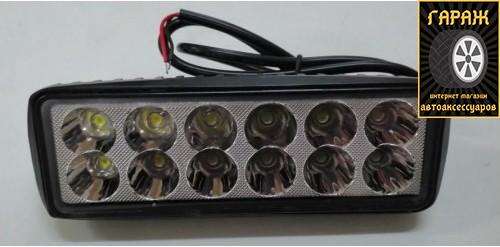 """Фара LED Прямоугол 36W(3W*12) 150*54*40mm Дальний/Spot + Стробоскоп """"Лидер"""" CY-L04-36W"""