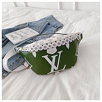 Бананка Louis Vuitton ЛУИ ВИТТОН поясная сумка женская реплика сумочка жіноча  2055/22 Зелёная