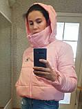 Дутая розовая куртка с капюшоном, размеры 42 - 48, фото 3