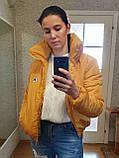 Коротка зимова дута куртка з капюшоном, жовто-гірчичного кольору, 42 - 48, фото 9