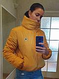 Коротка зимова дута куртка з капюшоном, жовто-гірчичного кольору, 42 - 48, фото 10