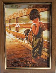 """Картина з бурштинової крихти """"Дитина з цуценям на мосту"""" 20х30 см"""