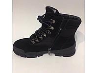 Зимние кожаные на меху ботинки шнурок молния, фото 1