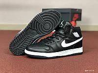 Мужские кроссовки Nike Air Jordan 1 Retro High, черно-белые, вкожаные, стиле Найк Аир Джордан, код SD-8578
