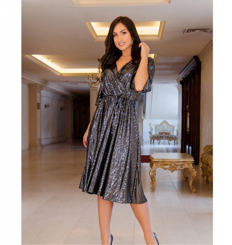 Вечернее платье на запАх,с расклешенным подолом №737-1-черный