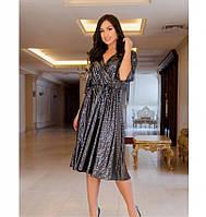 Вечернее платье на запАх,с расклешенным подолом №737-1-черный, фото 1