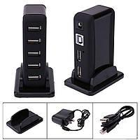 USB-хаб 7 портов с адаптером питания Разветвитель Концентратор ЮСБ, фото 1