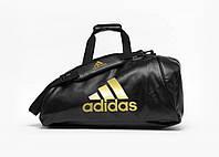 Спортивная сумка рюкзак Adidas, черный PU с золотым логотипом Wako, фото 1