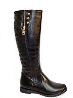 Сапоги высокие демисезонные кожаные на байке, декорированы молнией., фото 1