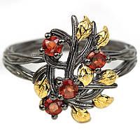 Серебряное кольцо с оранжевым сапфиром, Ø3 мм., 2105КЦС