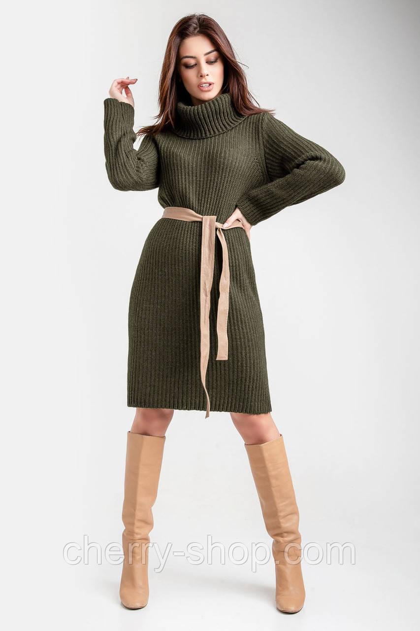 Платье Хаки Вязаное