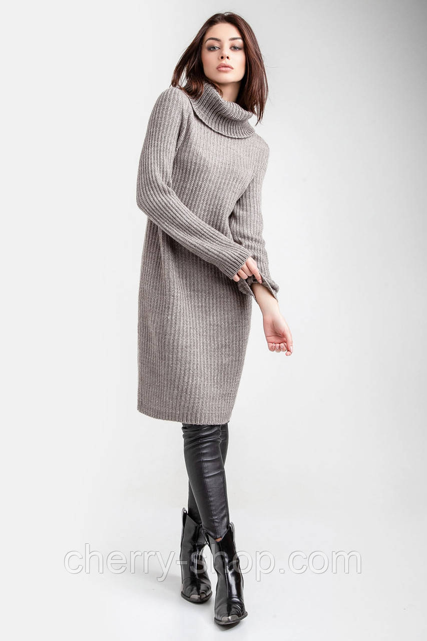 Теплое модное вязаное платье - свитер крупной вязки