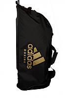 Сумка дорожная на колесах Adidas,черная с золотым логотипом Boxing