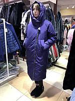 Стильный женский пухови пальто макси