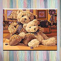 """Картины по номерам, холст на подрамнике - Животные """"Братец-медвежонок"""" 40*50 см, без коробки"""