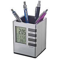 Настольная карандашница с часами