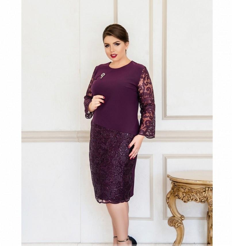 Очаровательное платье с брошью №744-1-сливовый