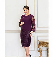 Очаровательное платье с брошью №744-1-сливовый, фото 1