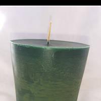Восковая свеча зеленая высота 10 см, диаметр 8 см, время горения 4 часа
