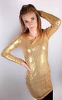 Платье пайетки ,золото! Размер S