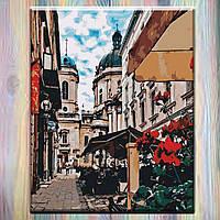 """Картины по номерам ТМ Идейка, холст на подрамнике, Городской пейзаж """"Волшебный Львов"""" 40*50см, без коробки"""