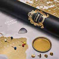 Скретч Карта Світу на Стіну з Аксесуарами Біла Сіра в Подарунковому Тубусі від Divalis