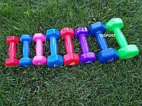 Гантели для фитнеса виниловые цельные (неразборные) OSPORT Profi 1 кг (FI-0105-2)
